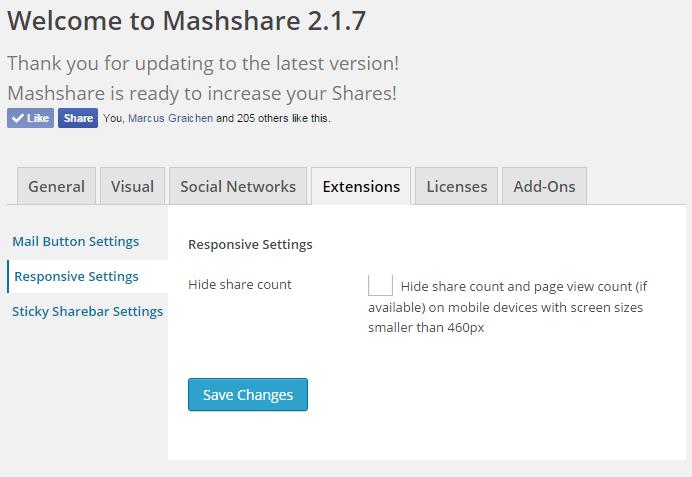 Mashshare admin settings