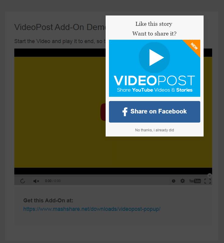 VideoPost Popup