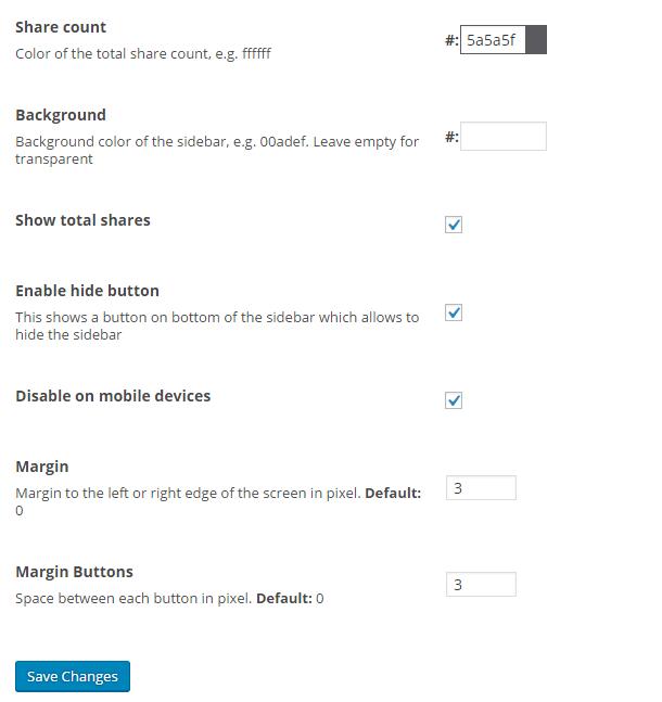 Floating share bar settings